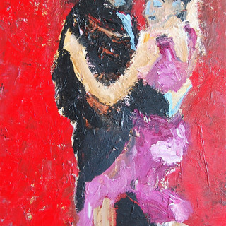 Dans i rødt, 120x85 cm