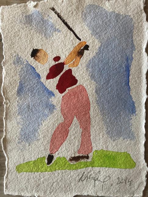 Golfspiller V, ca. 20x15 cm