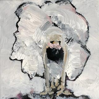 Balletpige med rosa sløjfe, 35x35 cm
