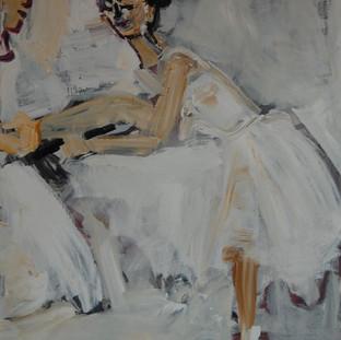 Balletpiger ved barren, 120x100 cm