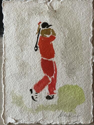 Golfspiller III, ca. 20x15 cm