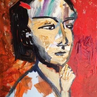 Pige med hånd på hage, 120 x 100 cm