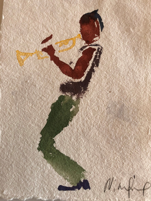 Trompetist, ca. 20x15 cm
