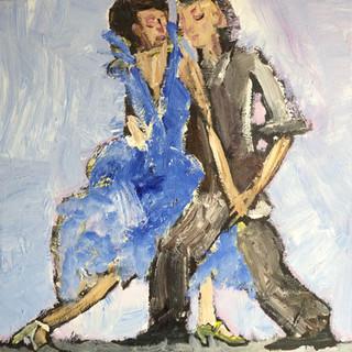 Dans i gule sko, 90x80 cm