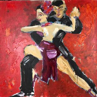 Rød tango, 90 x 90 cm