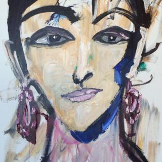 Kvinde med blå skygge, 120 x 100 cm