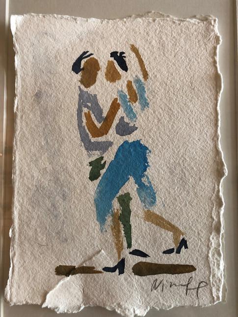 Blå tango, ca. 20x15 cm