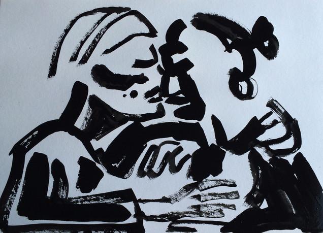 Kysset, 50 x 70 cm, indrammet