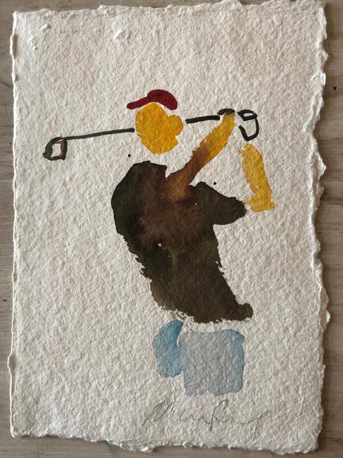Golfspiller I, ca. 20x15 cm