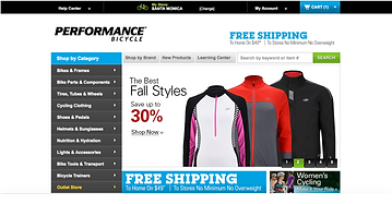Performance Bicycle Home Page