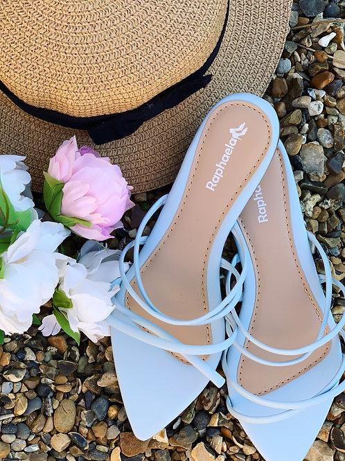 Stripe baby blue Flat sandal