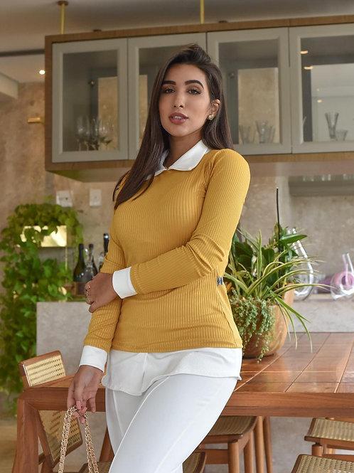 Mustard overlay blouse
