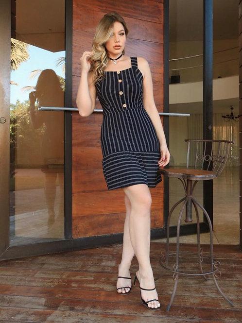 Blue navy Button striped Dress