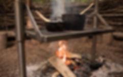 Kochkurs, offenes Feuer, Kräuter, Natur