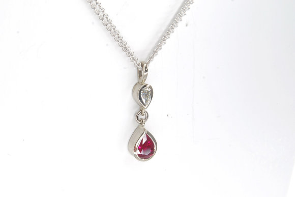 Diamond & Ruby Drop Pendant