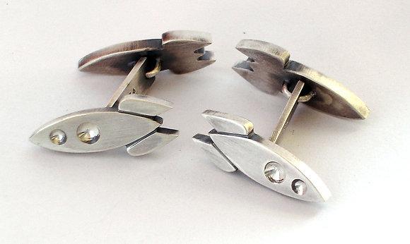 Silver Rocket Cuff Links
