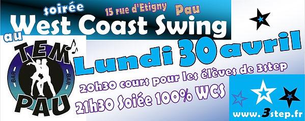 Soirée 100% West Coast Swing avec 3step le 30/04/2018