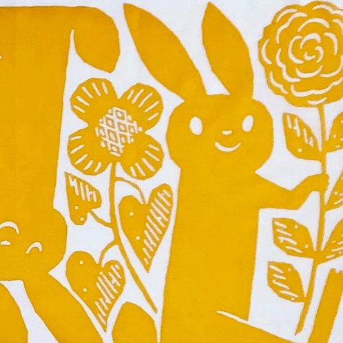 Tenugui / Rabbits / Yellow