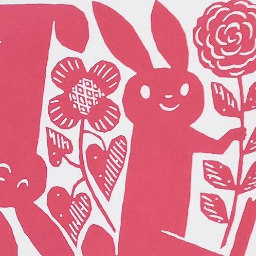 Tenugui / Rabbits / Pink