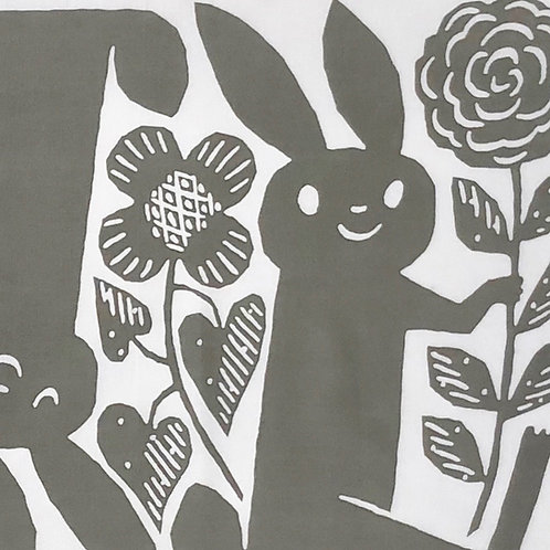 Tenugui / Rabbits / Gray