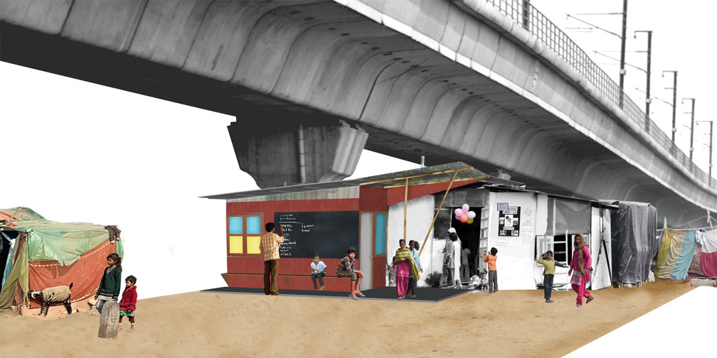 Visualisation of the new structure integrated with the older one