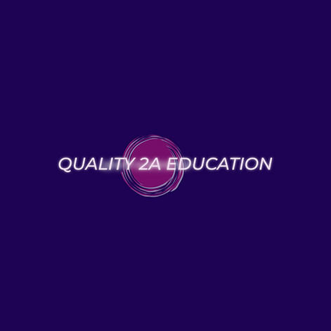purple background with pink stylized bullet hole with company name in center- Quality 2A Education