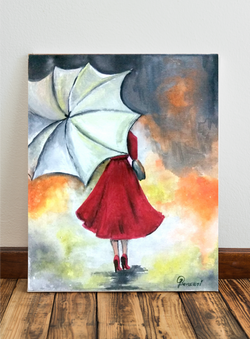 A girl walking in the rain!