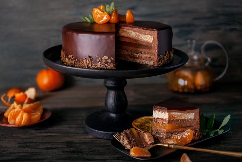 Шоколадно-мандариновый торт