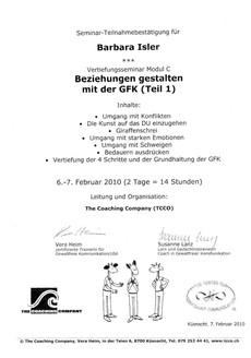 Kursbestätigungen_Beziehungen gestalten mit der GFK Teil 1