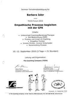 Kursbestätigungen_Empathische Prozesse begleiten mit der GFK