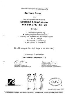Kursbestätigungen_Systeme beeinflussen mit der GFK Teil 2