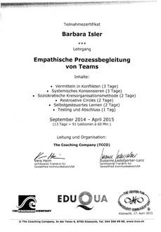 Kursbestätigungen_Empathische Prozessbegleitung von Teams