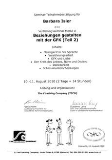 Kursbestätigungen_Beziehungen gestalten mit der GFK Teil 2