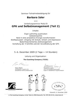 Kursbestätigungen_GFK Selbstmanagement Teil 2