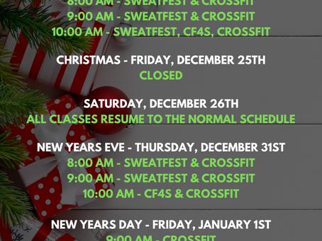 December Holiday Schedule