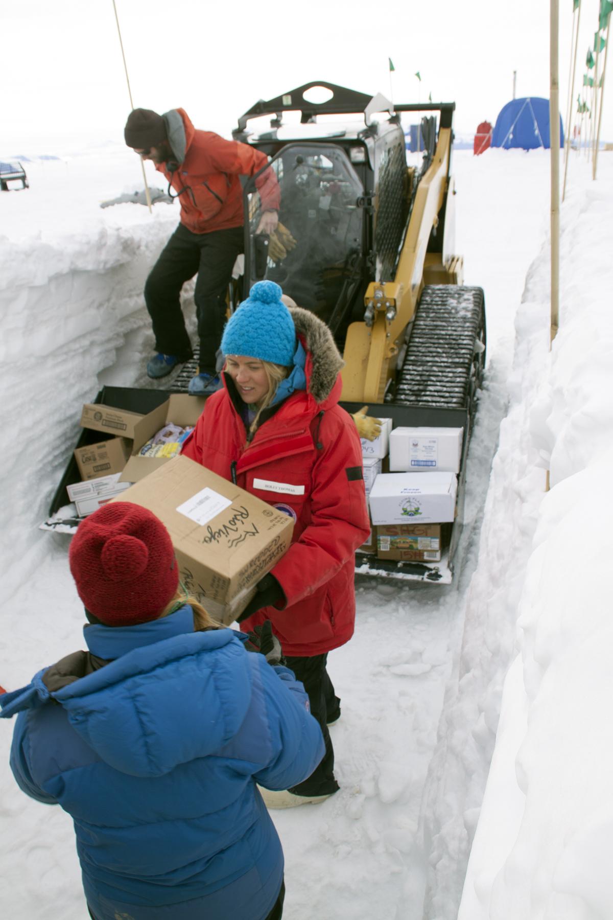 loading Shackleton's freezer