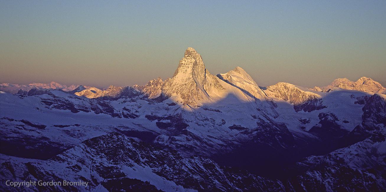 alpenglow over upper Mattertal