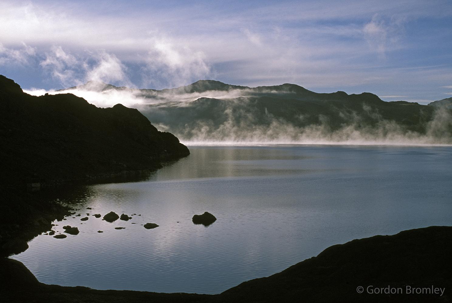 dawn mist on Chungara
