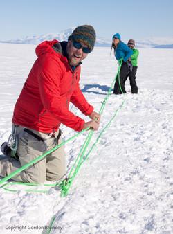 crevasse training on the ice shelf