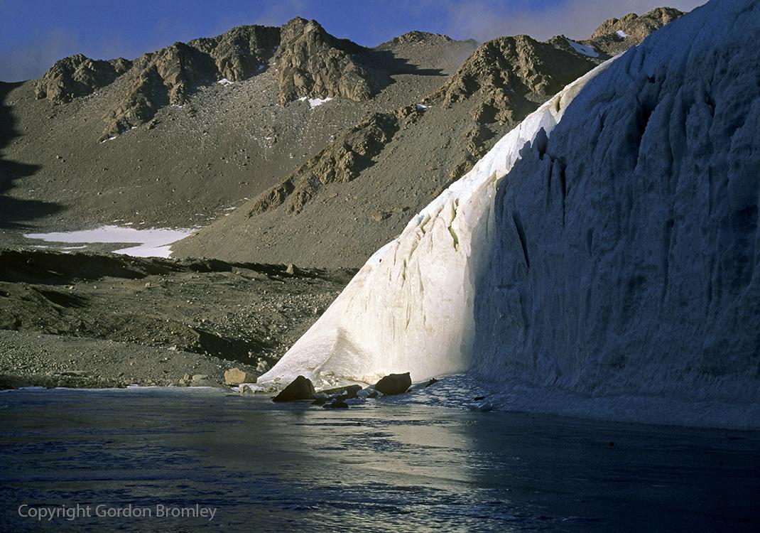 ice cliffs and frozen ponds