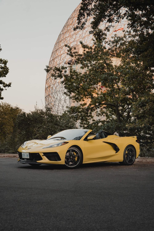 Chevrolet Corvette in front of the biosphere