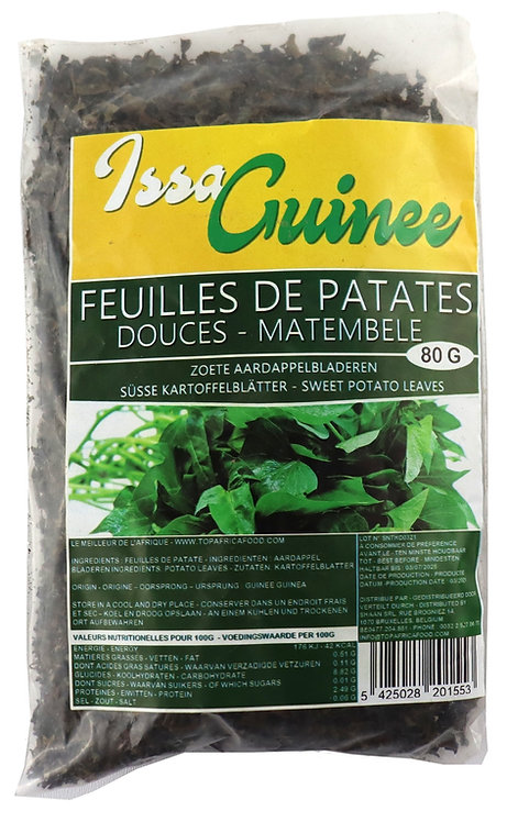 LEFR0216 ISSA GUINEE DRIED POTATO LEAVES FEUILLES PATATES (24X80G)