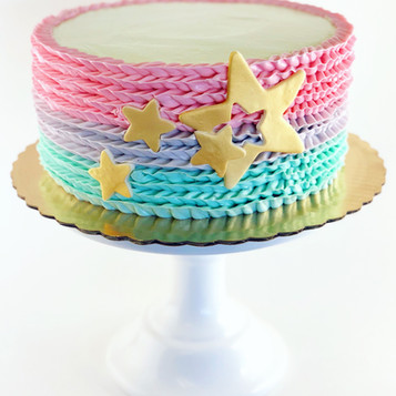 Pink & Blue Ruffle Ombre Gender Reveal Cake