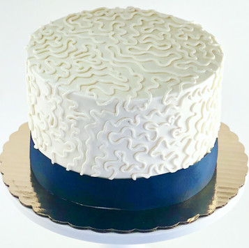 Navy and White Chantilly Lace Cake