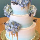 Blue Ombre & Gold Drip Wedding Cake