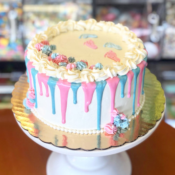 Pink and Blue Gender Reveal Drip Cake