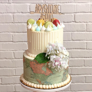 Two Tier Travel Themed Groom's Cake