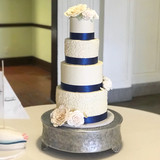 Navy & White with Blush Flowers