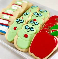 Back to School Bookworm Iced Cookies