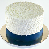 White & Navy Chantilly Lace Cake